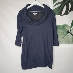 UO Silence + Noise Blue Cowl Neck Tunic Sweater